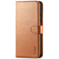 TUCCH IPhone 11 Pro Max Leather Wallet Case Folio Flip Kickstand With Magnetic Clasp-Light Brown