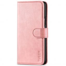 TUCCH IPhone 11 Pro Max Leather Wallet Case Folio Flip Kickstand With Magnetic Clasp-Rose Gold