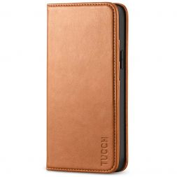 TUCCH iPhone 12 Mini Wallet Case - Mini iPhone 12 5.4-inch Flip Cover With Magnetic Closure-Light Brown