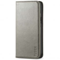 TUCCH iPhone 12 Mini Wallet Case - Mini iPhone 12 5.4-inch Flip Cover With Magnetic Closure-Gray