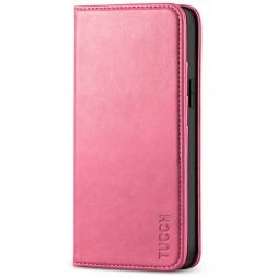 TUCCH iPhone 12 Mini Wallet Case - Mini iPhone 12 5.4-inch Flip Cover With Magnetic Closure-Hot Pink