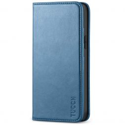 TUCCH iPhone 12 Mini Wallet Case - Mini iPhone 12 5.4-inch Flip Cover With Magnetic Closure-Lake Blue