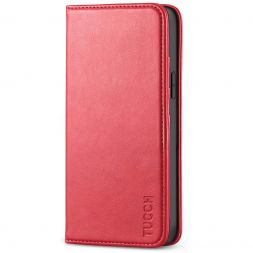TUCCH iPhone 12 Mini Wallet Case - Mini iPhone 12 5.4-inch Flip Cover With Magnetic Closure-Red
