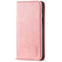 TUCCH iPhone 12 Mini Wallet Case - Mini iPhone 12 5.4-inch Flip Cover With Magnetic Closure-Rose Gold
