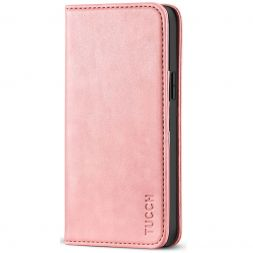 TUCCH iPhone 12 6.1-Inch Wallet Case - iPhone 12 Pro Flip Cover With Magnetic Closure-Rose Gold