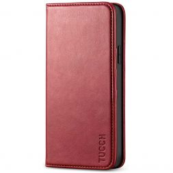 TUCCH iPhone 12 Pro Max Wallet Case - iPhone 12 Pro Max 6.7-Inch Flip Cover With Magnetic Closure-Dark Red