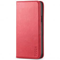 TUCCH iPhone 12 Pro Max Wallet Case - iPhone 12 Pro Max 6.7-Inch Flip Cover With Magnetic Closure-Red