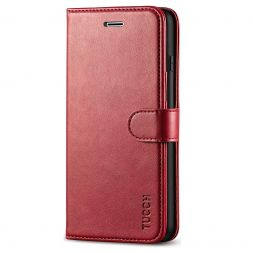 TUCCH iPhone 7/8 Plus Wallet Case Folio Style Kickstand With Magnetic Strap-Dark Red