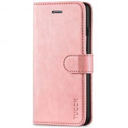TUCCH iPhone 7/8 Plus Wallet Case Folio Style Kickstand With Magnetic Strap-Rose Gold