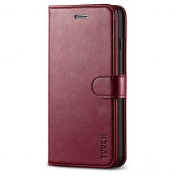 TUCCH iPhone 7/8 Plus Wallet Case Folio Style Kickstand With Magnetic Strap-Wine Red