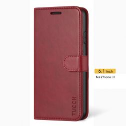 TUCCH iPhone 11 Leather Wallet Case Folio Flip Kickstand With Magnetic Clasp-Red