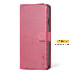 TUCCH iPhone 11 Pro Wallet Case Folio Flip Kickstand With Magnetic Clasp-Hot Pink