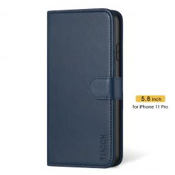 TUCCH iPhone 11 Pro Wallet Case Folio Flip Kickstand With Magnetic Clasp-Blue