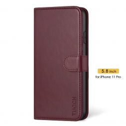 TUCCH iPhone 11 Pro Wallet Case Folio Flip Kickstand With Magnetic Clasp-Wine Red