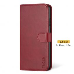 TUCCH iPhone 11 Pro Wallet Case Folio Flip Kickstand With Magnetic Clasp-Dark Red