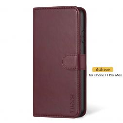 TUCCH IPhone 11 Pro Max Leather Wallet Case Folio Flip Kickstand With Magnetic Clasp-Wine Red