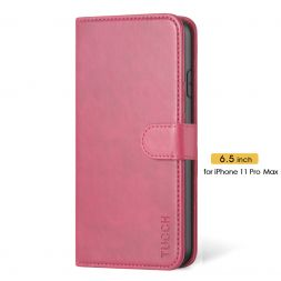 TUCCH IPhone 11 Pro Max Leather Wallet Case Folio Flip Kickstand With Magnetic Clasp-Hot Pink