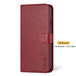 TUCCH IPhone 11 Pro Max Leather Wallet Case Folio Flip Kickstand With Magnetic Clasp-Red