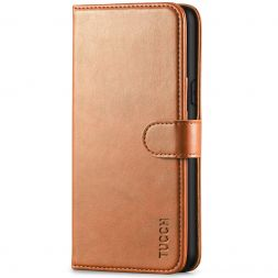 TUCCH iPhone XS Wallet Case Folio Style Kickstand With Magnetic Strap-Light Brown