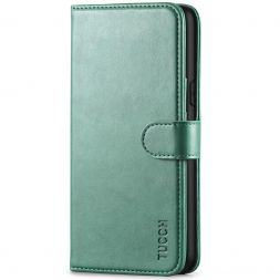 TUCCH iPhone XS Wallet Case Folio Style Kickstand With Magnetic Strap-Myrtle Green