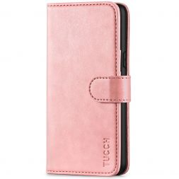 TUCCH iPhone XS Wallet Case Folio Style Kickstand With Magnetic Strap-Rose Gold