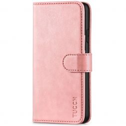 TUCCH iPhone XS Max Wallet Case Folio Style Kickstand With Magnetic Strap-Rose Gold