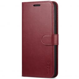 TUCCH iPhone XR Wallet Case Folio Style Kickstand With Magnetic Strap-Dark Red