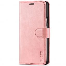 TUCCH iPhone XR Wallet Case Folio Style Kickstand With Magnetic Strap-Rose Gold