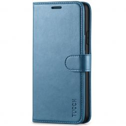 TUCCH iPhone XS Wallet Case Folio Style Kickstand With Magnetic Strap-Lake Blue