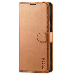 TUCCH Samsung Galaxy S20 Wallet Case Folio Style Kickstand With Magnetic Strap-Light Brown