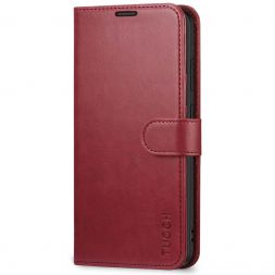 TUCCH Samsung Galaxy S20 Wallet Case Folio Style Kickstand With Magnetic Strap-Red