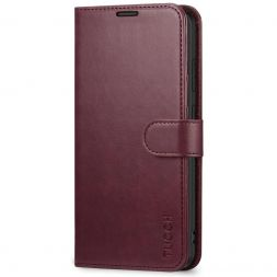 TUCCH Samsung Galaxy S20 Wallet Case Folio Style Kickstand With Magnetic Strap-Wine Red