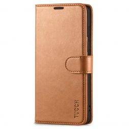 TUCCH Samsung Galaxy S20FE Wallet Case Folio Style Kickstand With Magnetic Strap-Light Brown