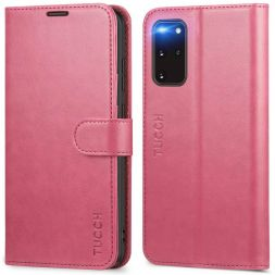TUCCH Samsung Galaxy S20 Plus /5G Wallet Case Folio Style Kickstand With Magnetic Strap-Hot Pink