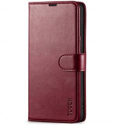 TUCCH Samsung S21 Wallet Case, Samsung Galaxy S21 5G Flip PU Leather Cover, Stand with RFID Blocking and Magnetic Closure-Wine Red
