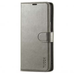 TUCCH Samsung Galaxy S21FE Wallet Case Folio Style Kickstand With Magnetic Strap for Samsung S21 FE-Gray