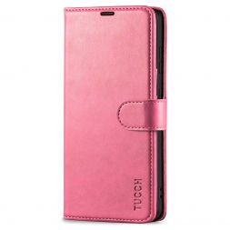TUCCH Samsung Galaxy S21FE Wallet Case Folio Style Kickstand With Magnetic Strap for Samsung S21 FE-Hot Pink