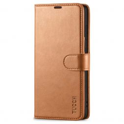 TUCCH Samsung Galaxy S21FE Wallet Case Folio Style Kickstand With Magnetic Strap for Samsung S21 FE-Light Brown