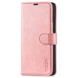 TUCCH Samsung Galaxy S21FE Wallet Case Folio Style Kickstand With Magnetic Strap for Samsung S21 FE-Rose Gold