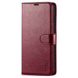 TUCCH Samsung Galaxy S21FE Wallet Case Folio Style Kickstand With Magnetic Strap for Samsung S21 FE-Wine Red