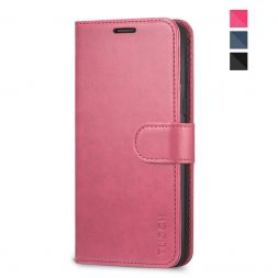 TUCCH Samsung Galaxy S8 Wallet Case Folio Style Kickstand With Magnetic Strap-Hot Pink