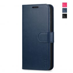 TUCCH Samsung Galaxy S8 Plus Wallet Case Folio Style Kickstand With Magnetic Strap-Blue