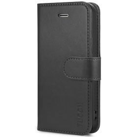 TUCCH iPhone SE/5S/5 Wallet Case with TPU Case, Retro Leather Wallet Case, Flip Book Case-Black
