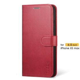 TUCCH iPhone XS Max Wallet Case Folio Style Kickstand With Magnetic Strap-Dark Red