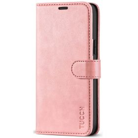 TUCCH iPhone 12 6.1-Inch Wallet Case, iPhone 12 Pro Folio Flip Kickstand With Magnetic Clasp-Rose Gold