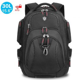 15.6-inch Laptop Backpack, 30L Carry-on Travel Backpack with RFID Blocking and Reflective Strips - Multi-pocket Design