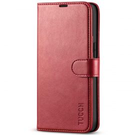 TUCCH iPhone 13 Wallet Case, iPhone 13 Book Folio Flip Kickstand With Magnetic Clasp-Dark Red