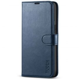 TUCCH iPhone 13 Wallet Case, iPhone 13 Book Folio Flip Kickstand With Magnetic Clasp-Dark Blue