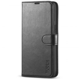 TUCCH iPhone 13 Wallet Case, iPhone 13 Book Folio Flip Kickstand With Magnetic Clasp-Black