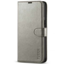 TUCCH iPhone 13 Wallet Case, iPhone 13 Book Folio Flip Kickstand With Magnetic Clasp-Gray